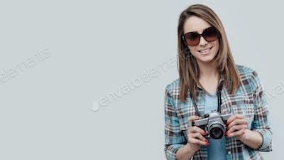 Smiling female photographer