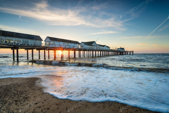 A beautiful sunrise over the pretty pier at Southwold