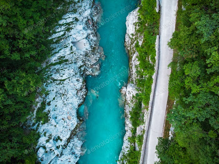 Road along Soca river in Slovenia Triglav Park, aerial view