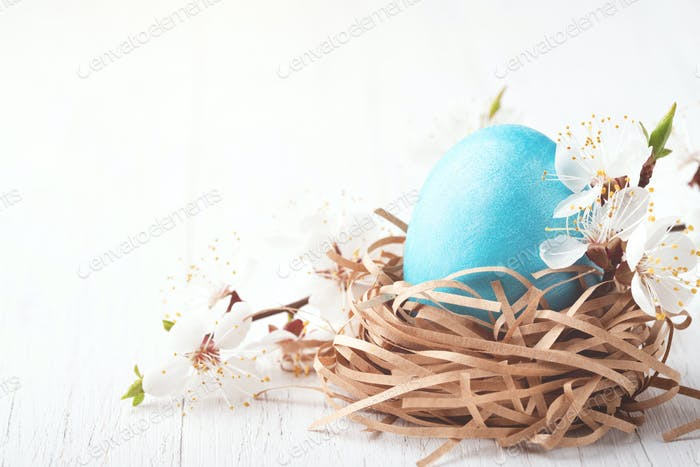 Easter Greeting Card with Blue Egg in Nest.
