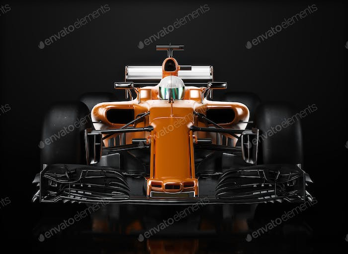 Orange race car front perspective