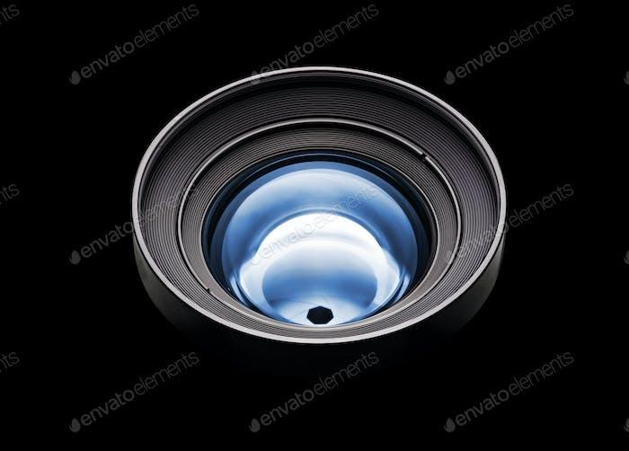 Black camera with blue lens