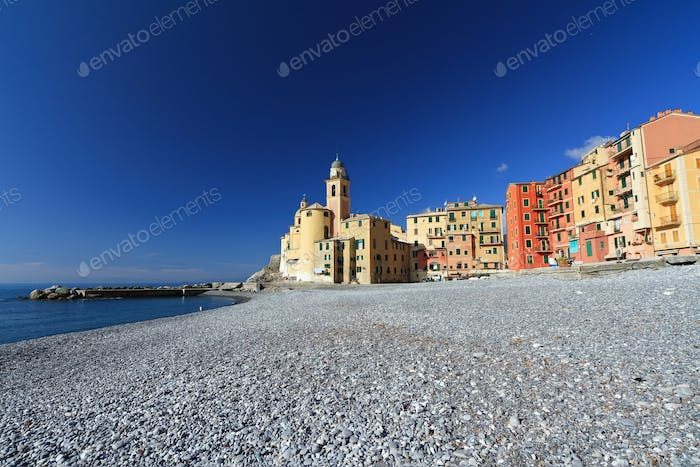 seaside and church in Camogli