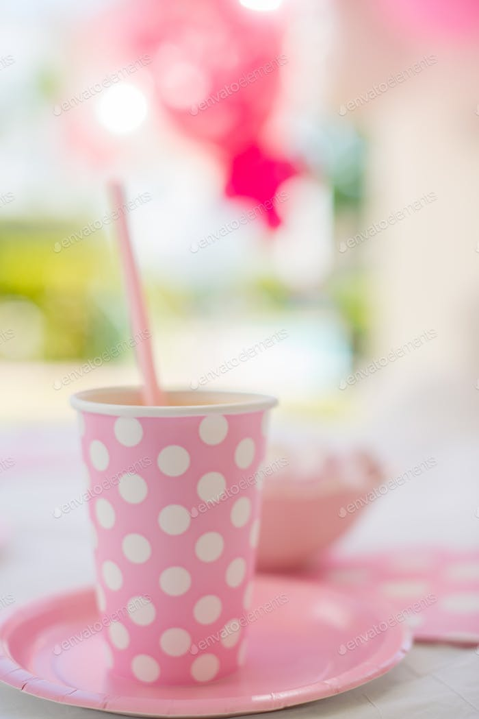 Birthday Party Pink Cup with Polka Dots