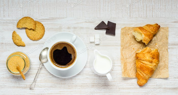 Coffee, Chocolate and Croissant