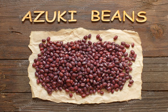 Raw azuki beans with wooden word