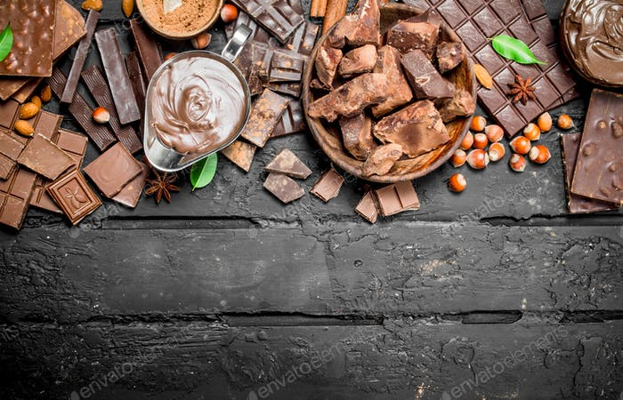 Chocolate background. Various assortment of chocolate with paste.