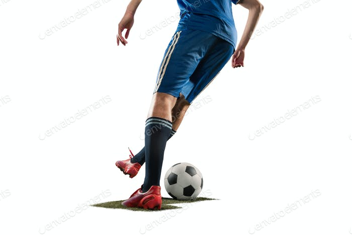 db33a774536 one caucasian soccer player man isolated on white background photo ...