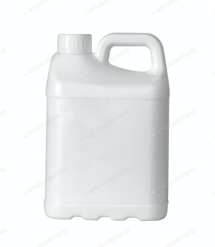 White plastic jerry can is isolated on a white background