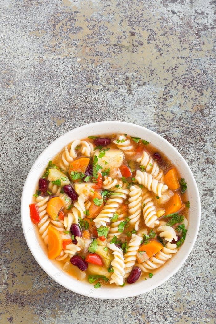 Minestrone soup. Vegetable soup with pasta