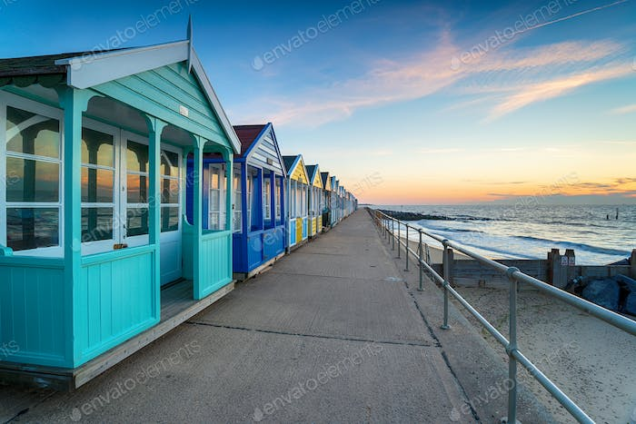 A row of colorful beach huts at Southwold