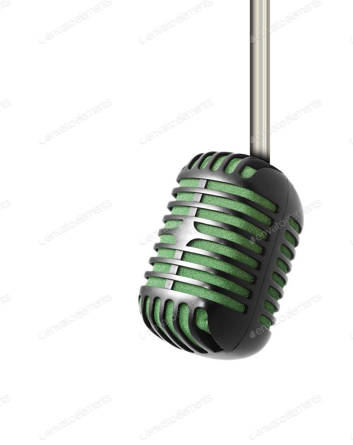 Vintage-Mikrofon isoliert auf weißem Hintergrund