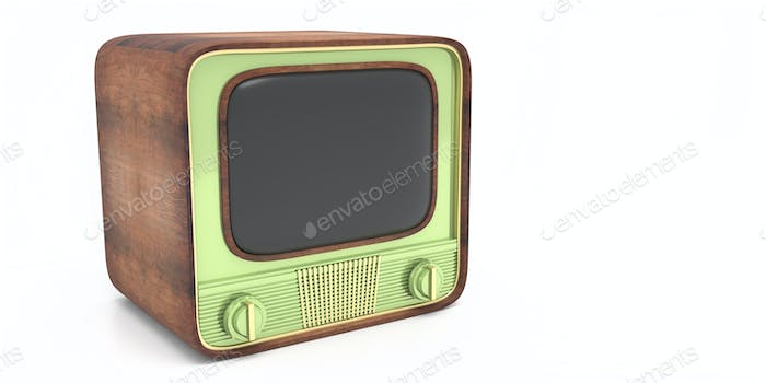 Retro old tv isolated against white color background. 3d illustration