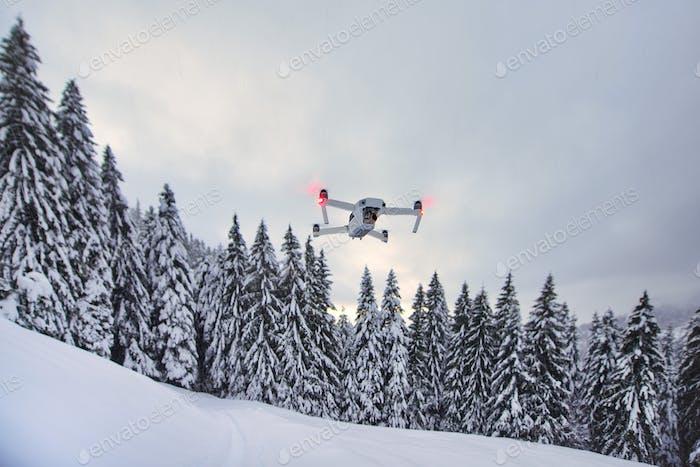 Drohne ist gerade im Flug aufgestanden
