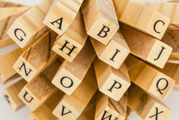 Letters of the English alphabet on the ends of wooden bars