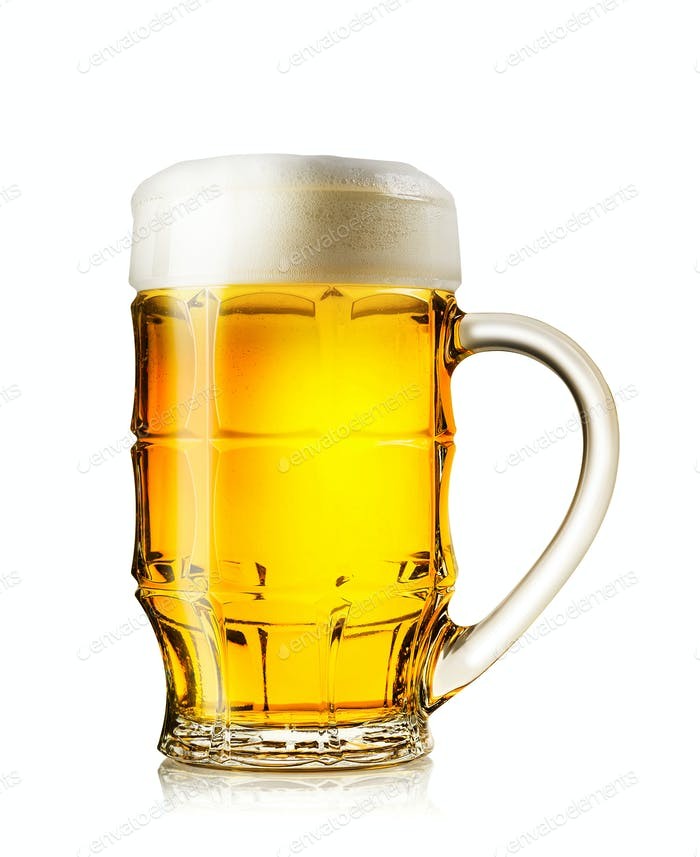Big mug of fresh light beer with rich foam