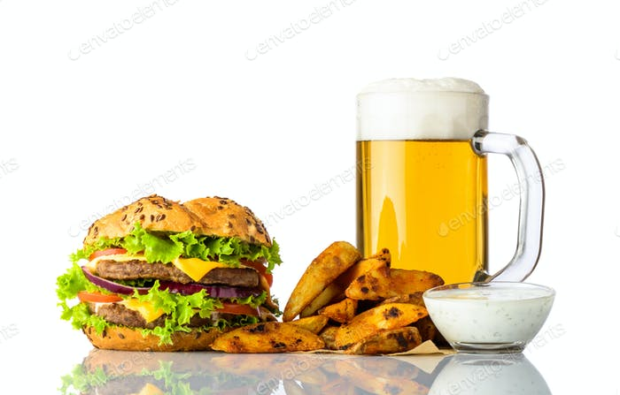 Burger, Cold Beer and Fries with Dipping Souce