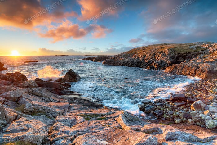 Sunset at Mealista Beach on the Isle of Lewis in Scotland