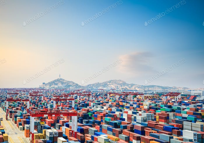 container yard at dusk