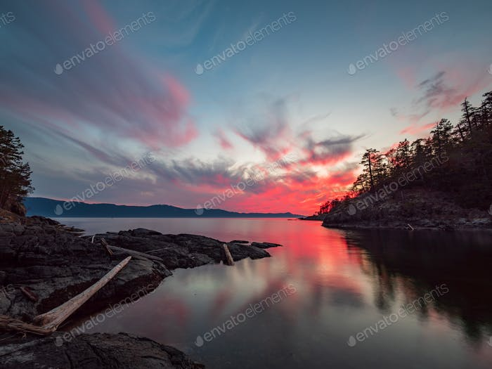 Amazing sunset along the coast of the sunshine coast in British Columbia, Canada