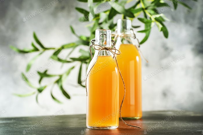 Hausgemachte fermentierte rohe Kombucha.Tee bereit zu trinken