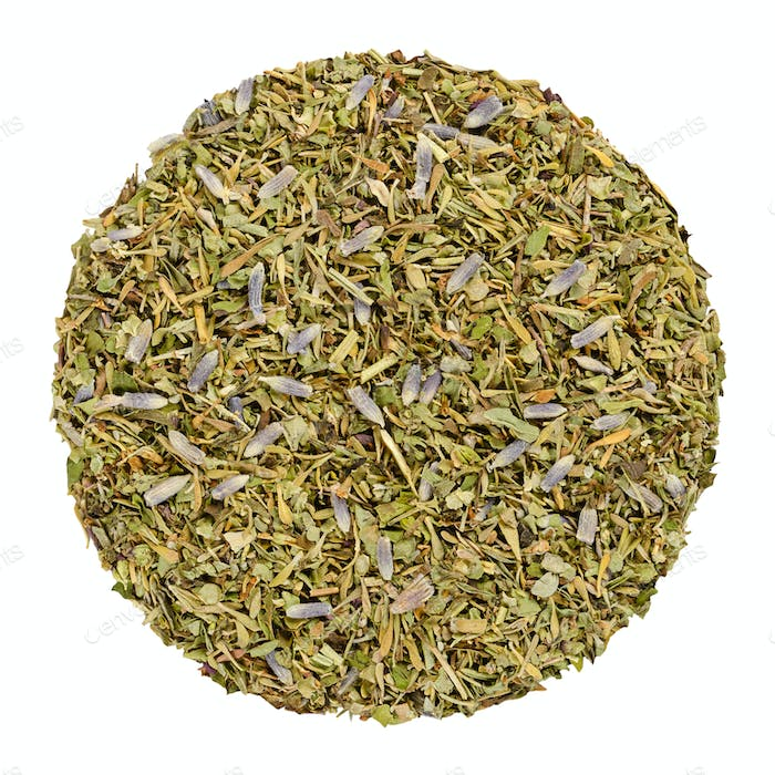 Dried Herbes de Provence, herb circle from above, over white