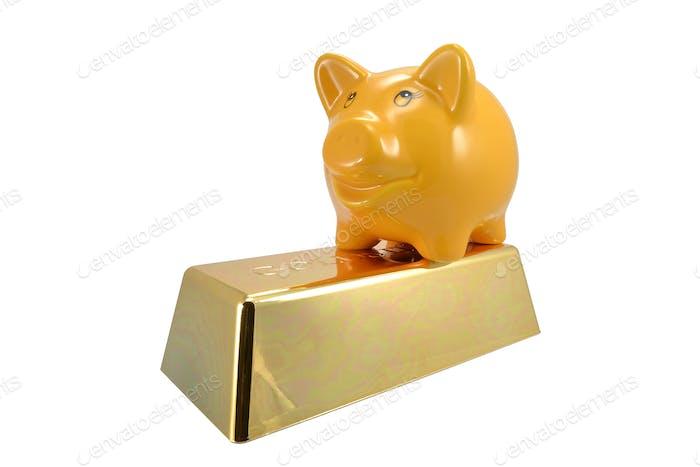 Piggy Bank on Gold Bar