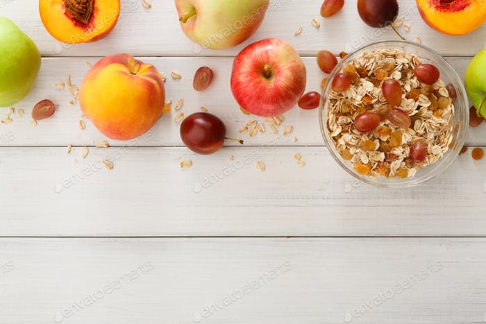 Healthy morning meals with muesli and apples