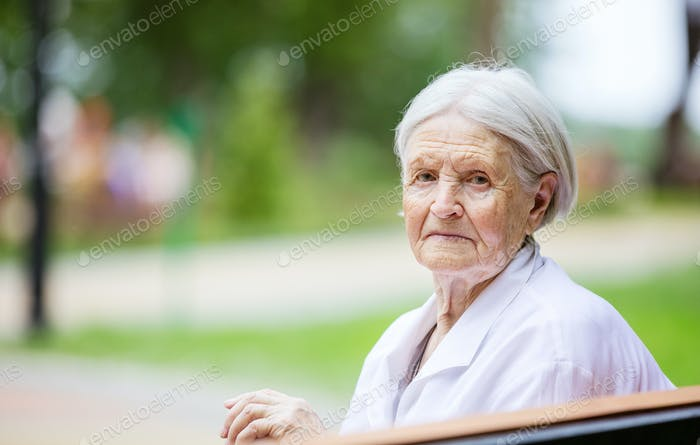 Portrait of senior woman outdoors