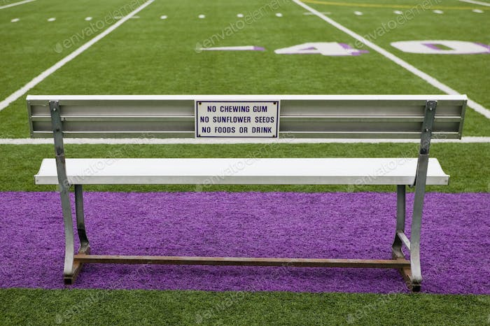 Sign on Athletic Field Bench