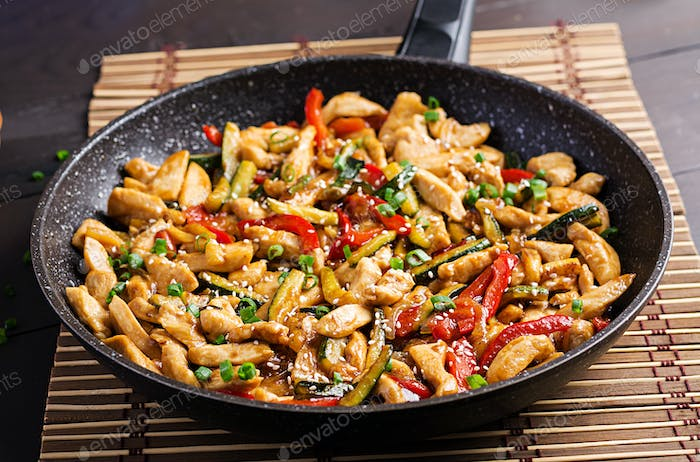 Stir fry chicken, zucchini, sweet peppers and green onion. Asian cuisine