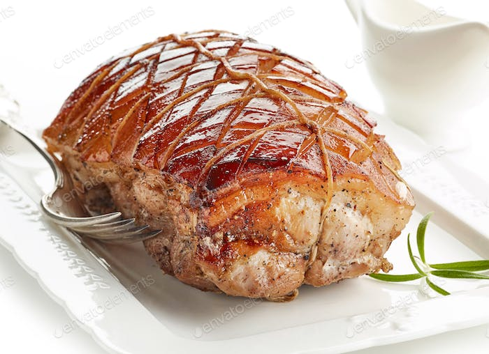 roasted pork on white plate
