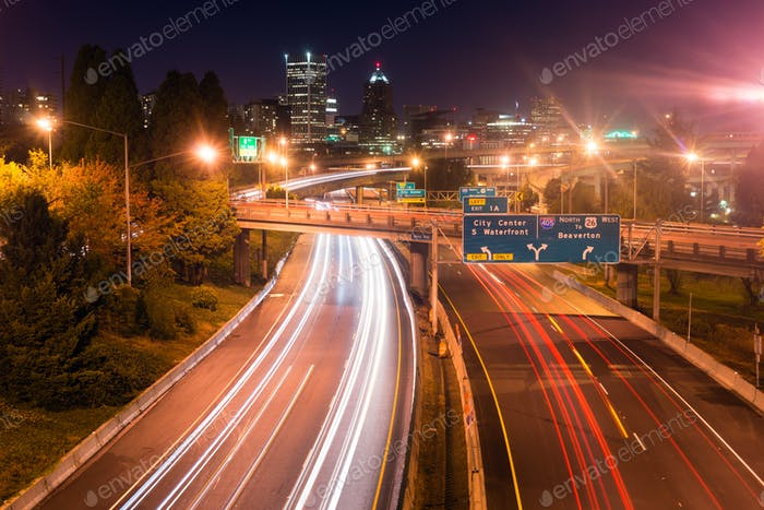 Interstate 5 Travels North Through Portland Oregon Downtown City