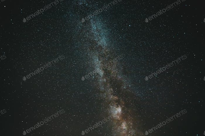 Natural Night Sky Stars With Milky Way Galaxy. Real Photo Starry