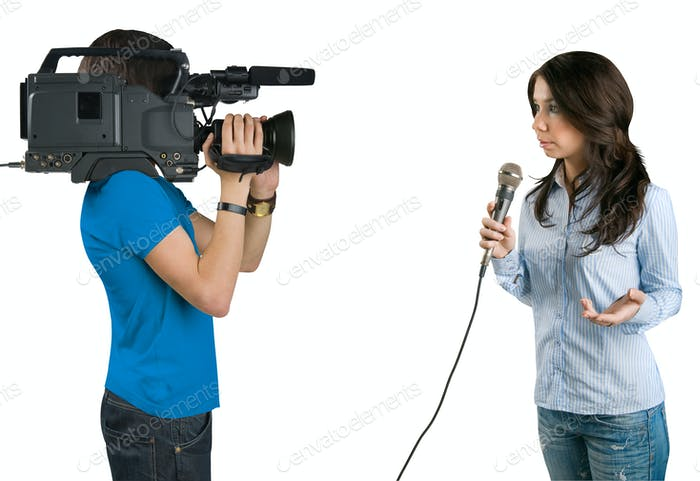 TV reporter presenting the news in studio, isolated on white bac