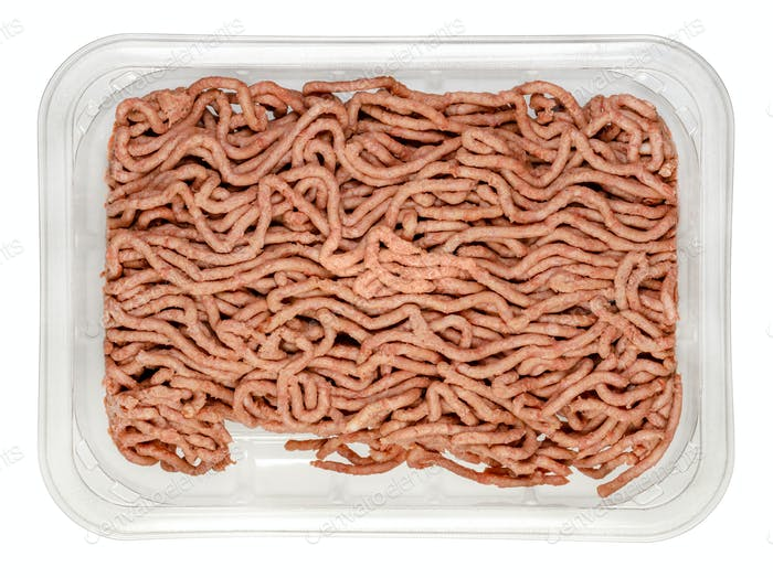 Vegan ground meat, based on pea protein, in a plastic tray