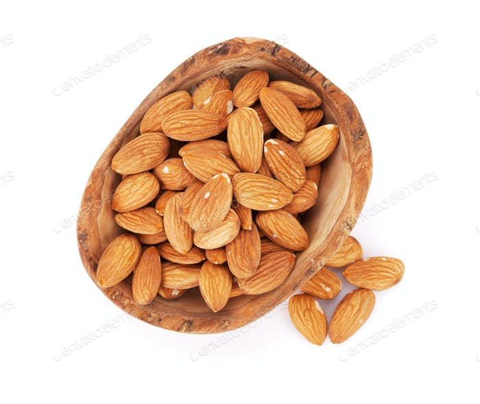Almonds nuts in bowl