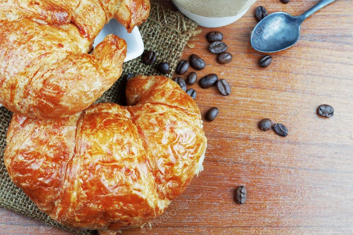 croissant bread and coffee