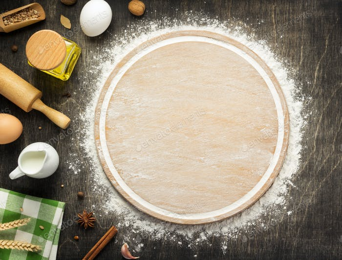 wheat flour and cutting board