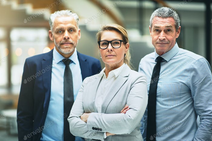 Confident mature businesswoman and two colleagues standing in an office