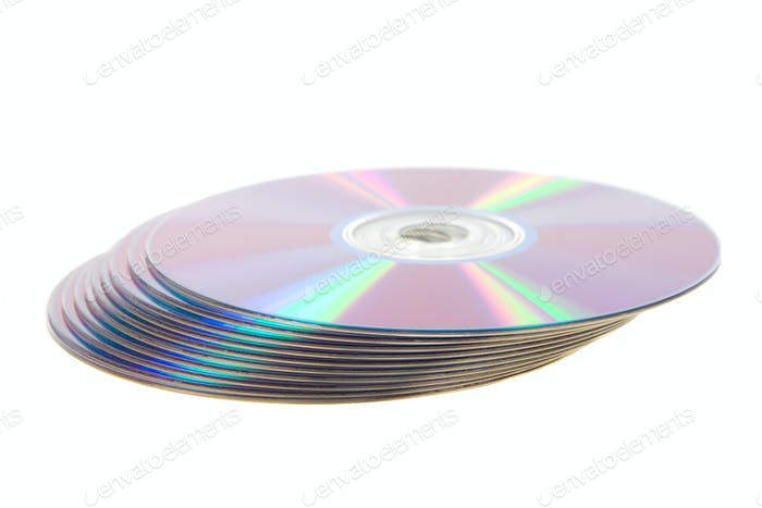 Play of light on the CD disks.