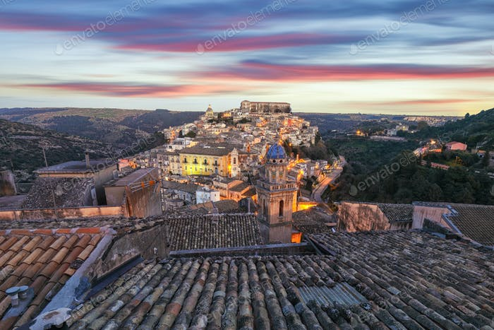 Sunset at the old baroque town of Ragusa Ibla in Sicily