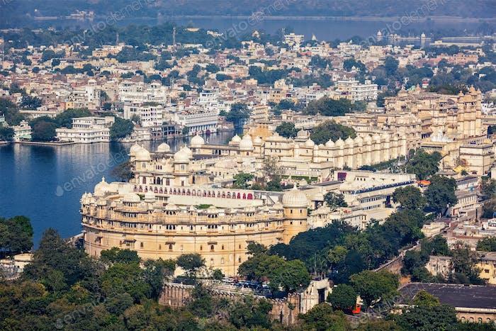 View of  City Palace. Udaipur, Rajasthan, Indi