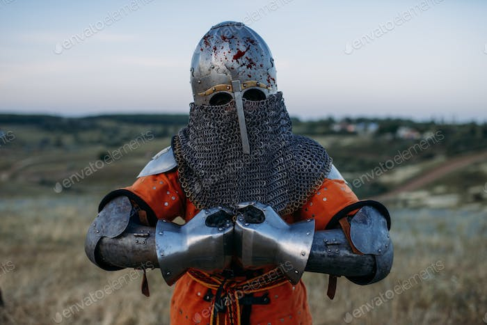 Medieval knight in metal armor holds sword