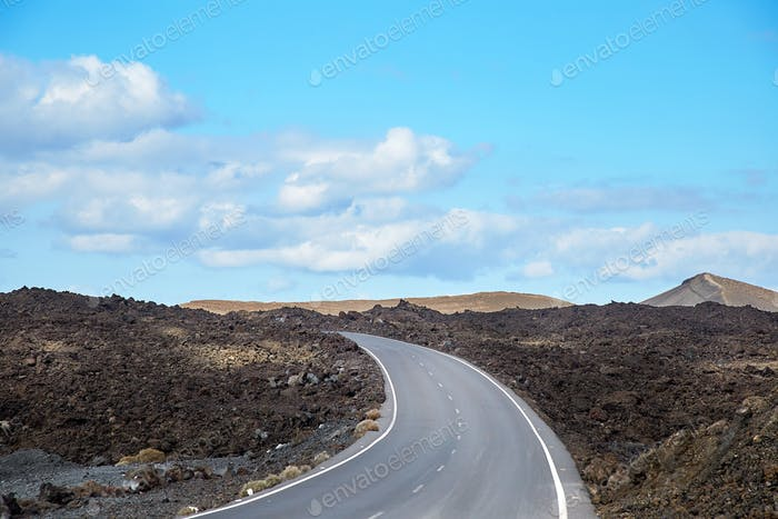 Road in Lanzarote Island, Canaries
