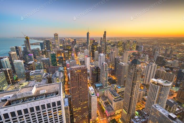 Chicago, Illinois USA aerial skyline