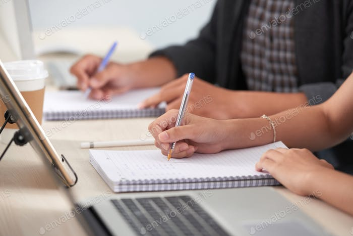 Students busy with homework