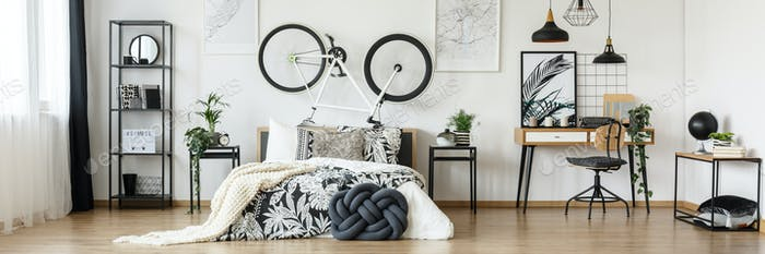 Open space bedroom with bicycle
