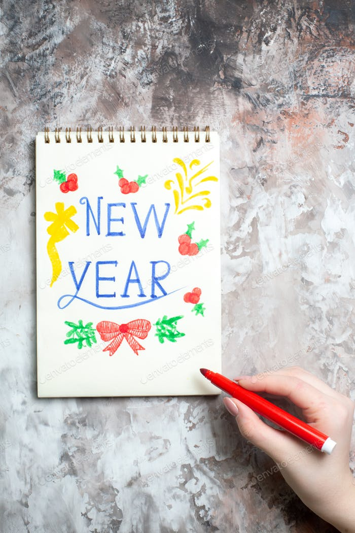 top view new year note on the white background photo xmas holiday color new year