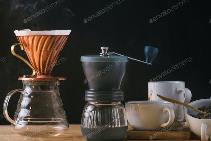 Coffee tools on table